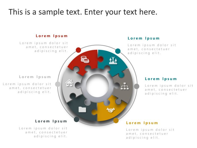 6 Steps Circular Strategy PowerPoint Template